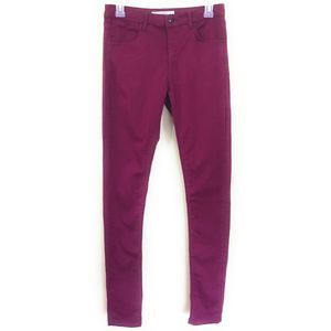 Topshop Moto Leigh Burgundy Red Skinny Size 28